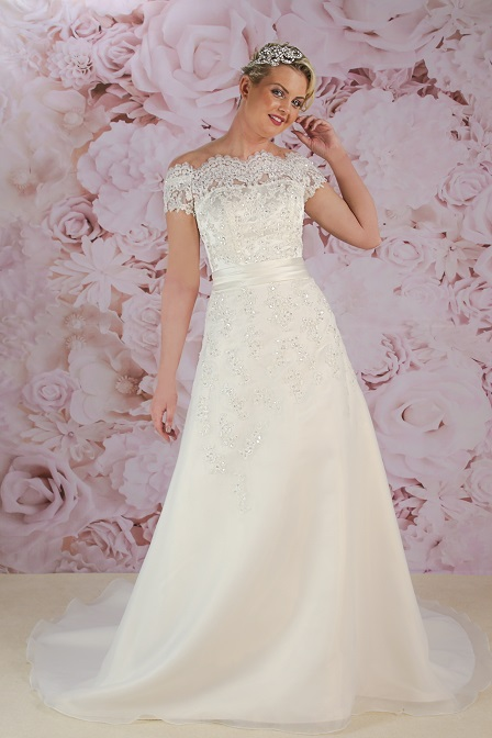 BL187 off the shoulder ivory gown by Victoria Kay
